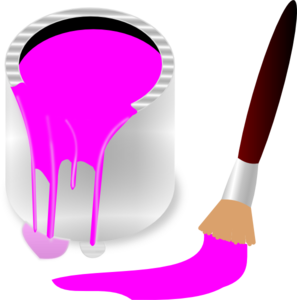Clipart Pink Paint Bucket And Paint Brush Clip Art at Clker