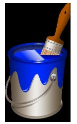 Bucket clipart paint bucket. Blue
