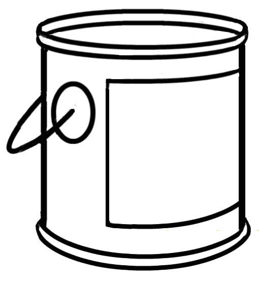 Black and white letters. Bucket clipart paint bucket