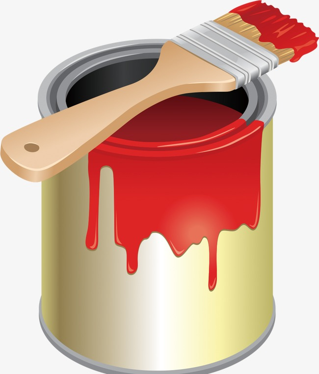 Bucket clipart painting. Paint brush printing red