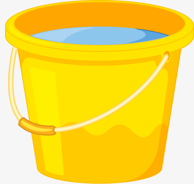 Bucket clipart plastic bucket. Cartoon decoration yellow container