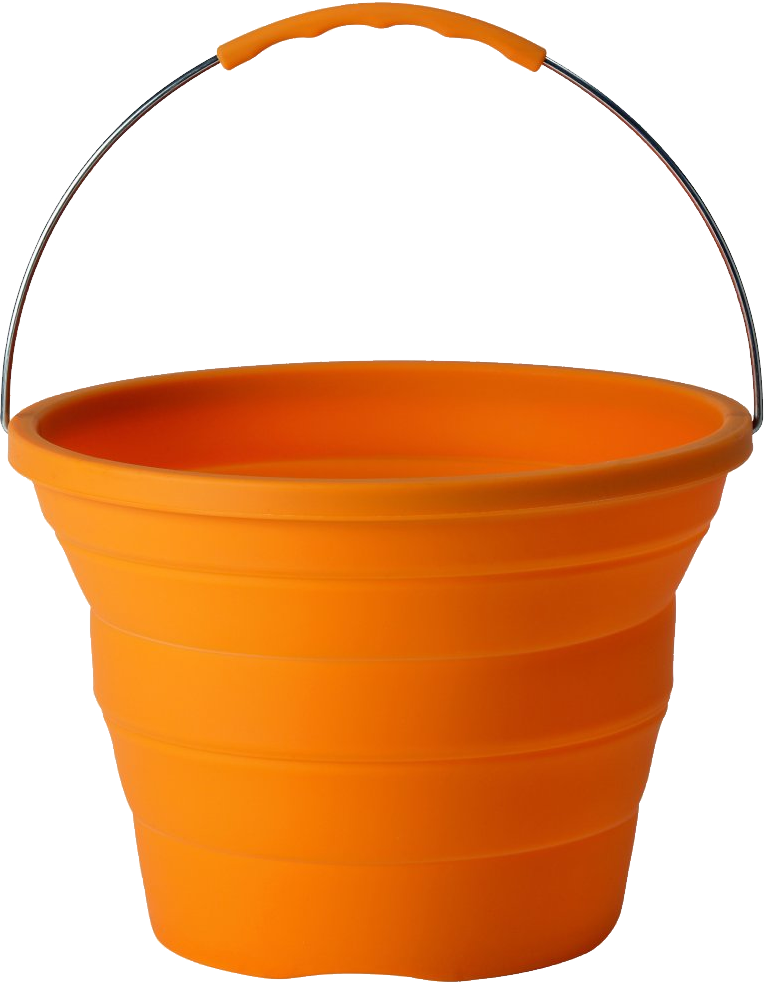 Bucket clipart transparent background. Orange plastic png image