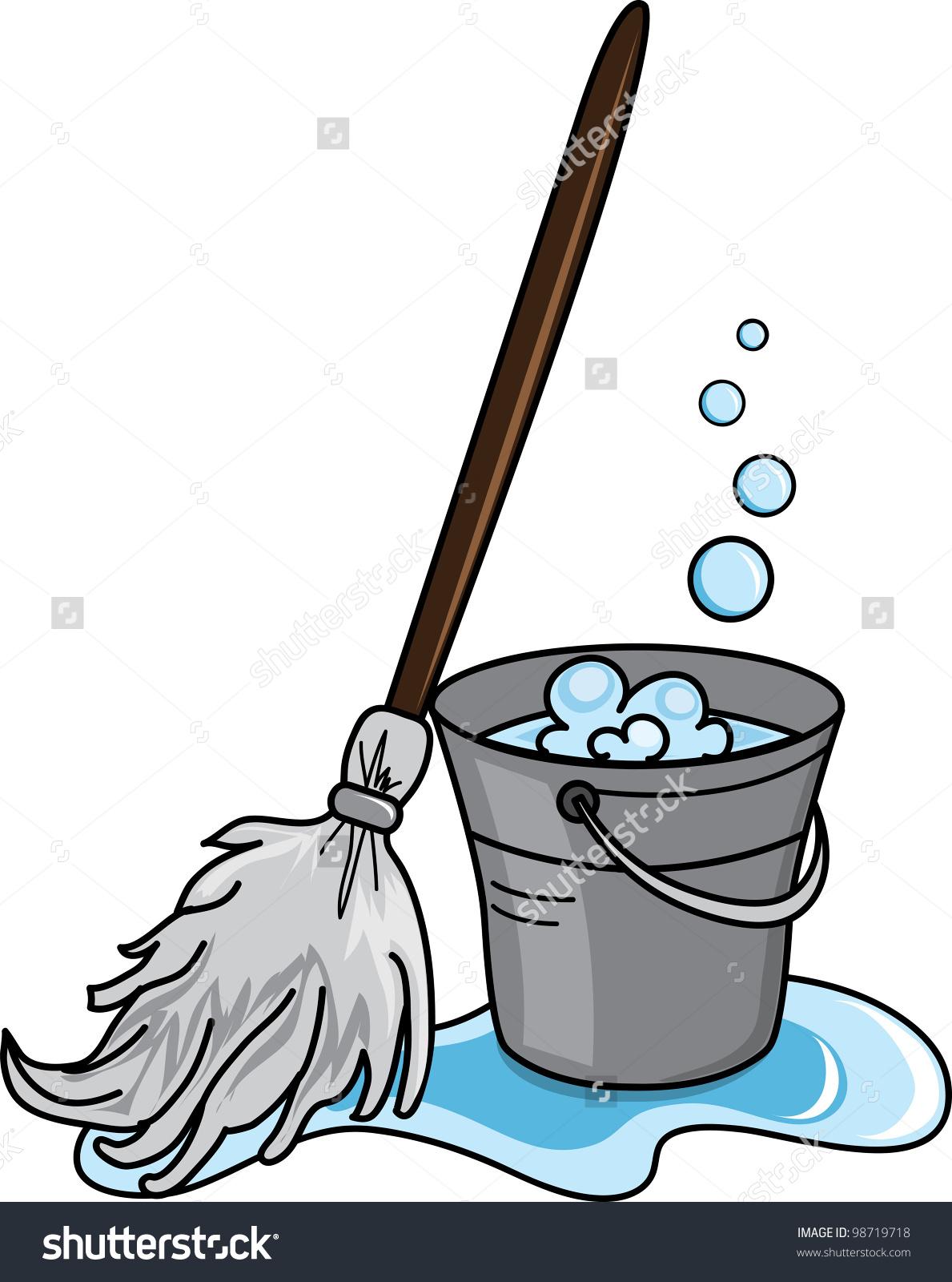 Cleaning mop clip art. Bucket clipart vector