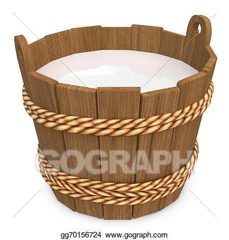 Drawing d with milk. Bucket clipart wooden bucket
