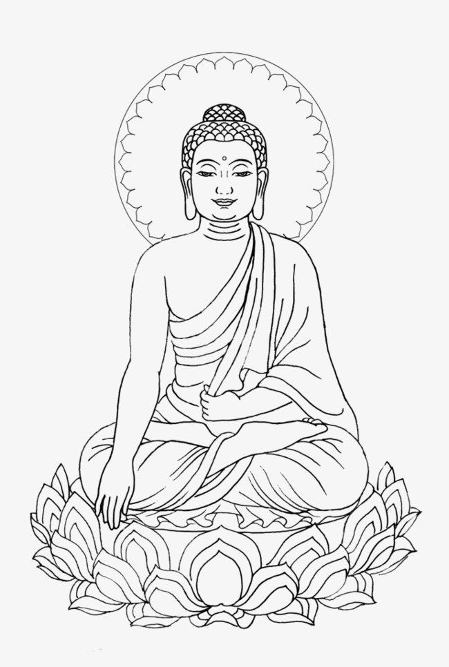 Simple hand painted shakya. Buddha clipart basic