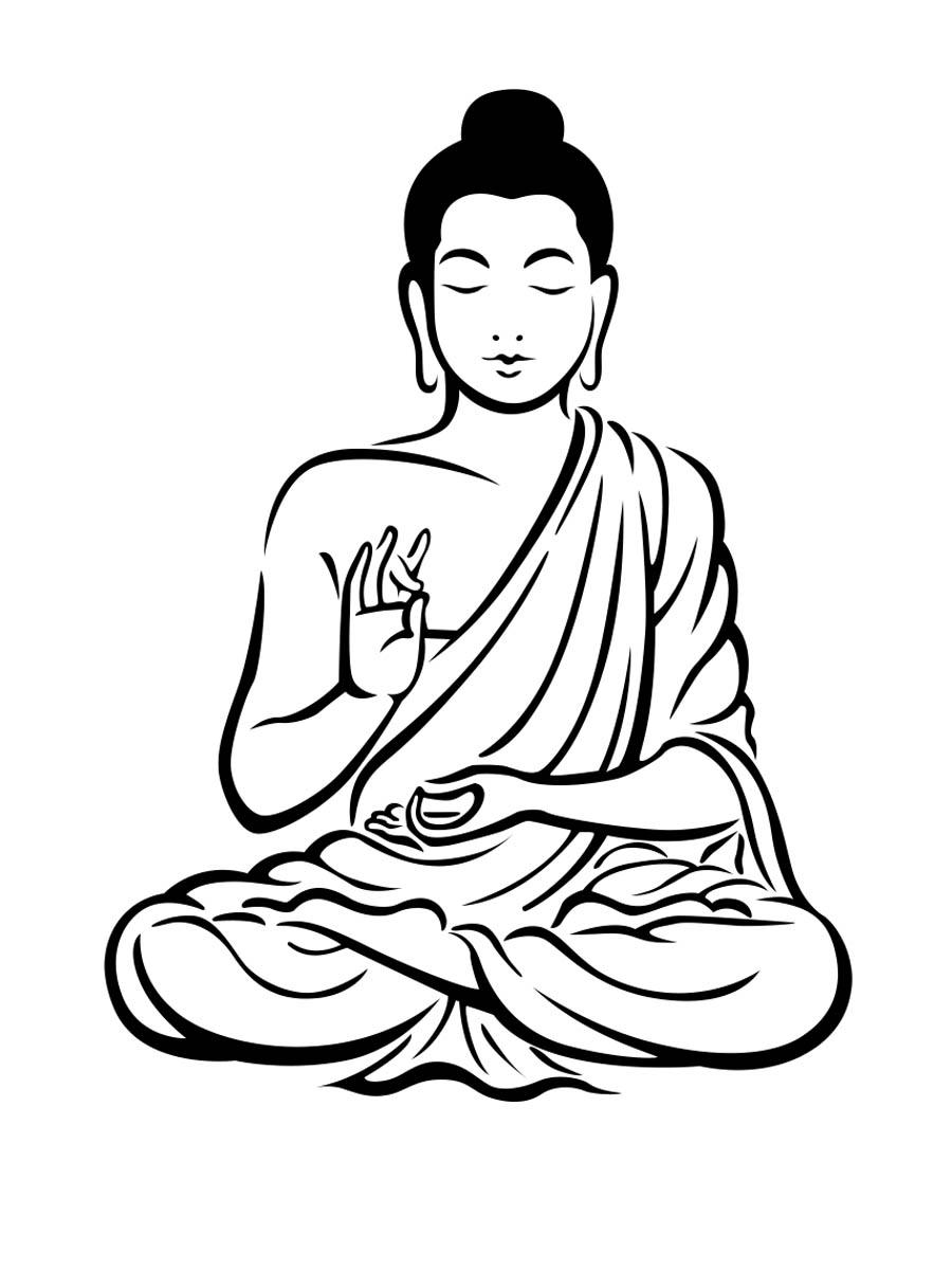 Station . Buddha clipart black and white