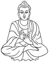 Simple seated line drawing. Buddha clipart easy
