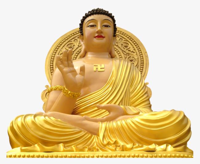 Shakya muni painted statue. Buddha clipart golden buddha