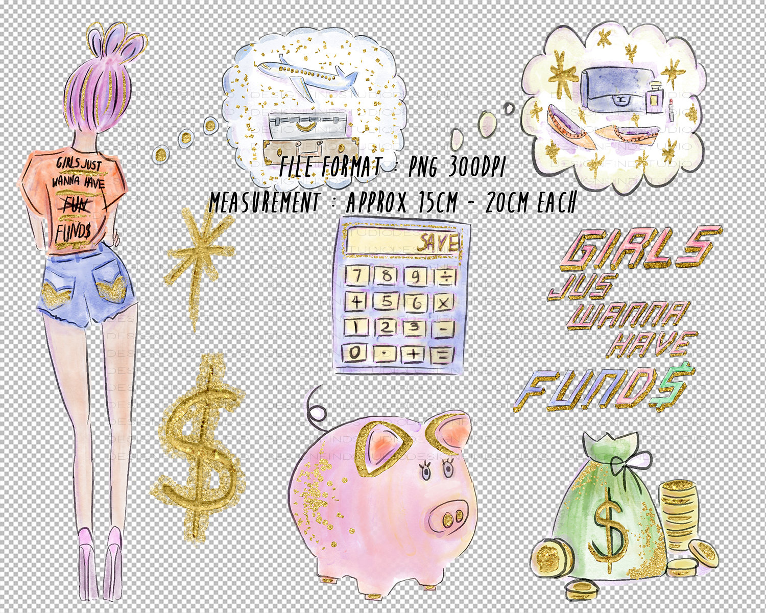 Fashion planner girl watercolor. Budget clipart cute
