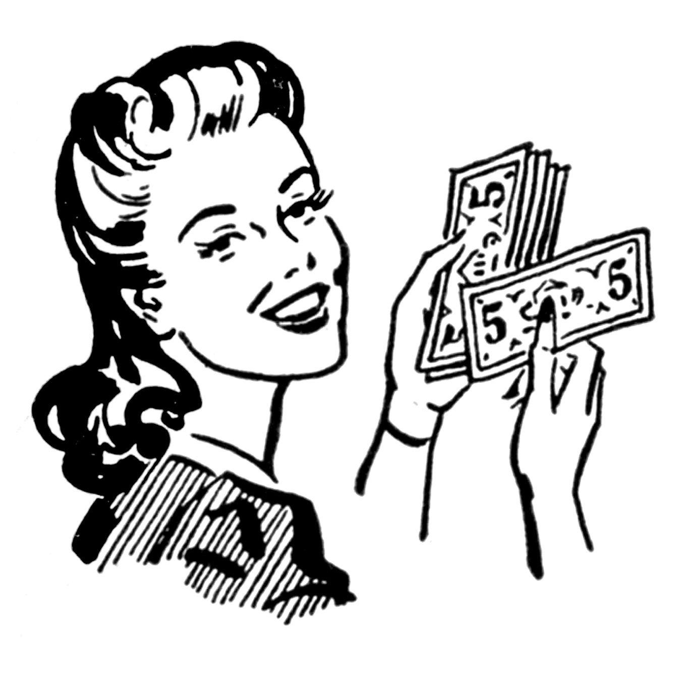 Retro clip art money. Cash clipart black and white