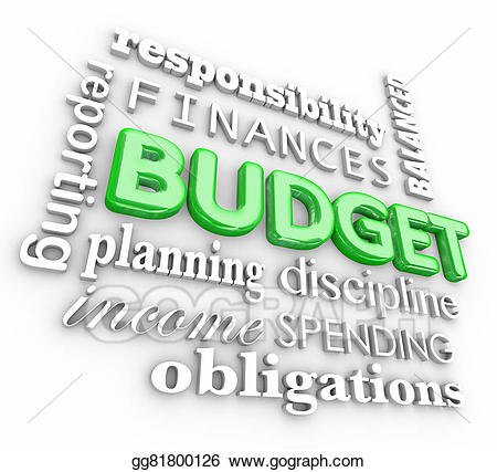 Stock illustration d word. Budget clipart spending plan