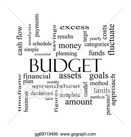 Stock illustration cloud concept. Budget clipart word art