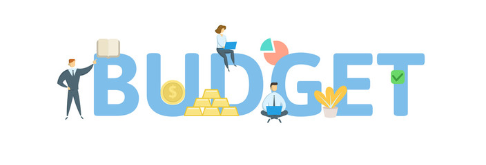 Budget clipart word art. Icon flat photos royalty