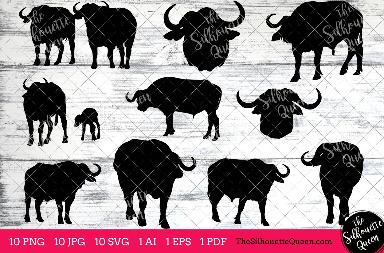 Silhouette clip design bundles. Buffalo clipart african buffalo