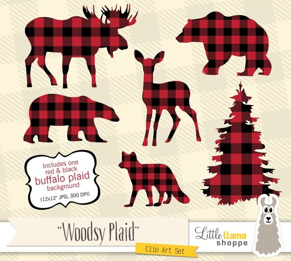Lumberjack clipart baby lumberjack. Buffalo plaid animal silhouette