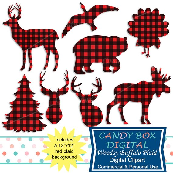 Buffalo animal woodsy red. Moose clipart plaid