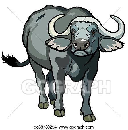 Vector stock buffalo illustration. African clipart background