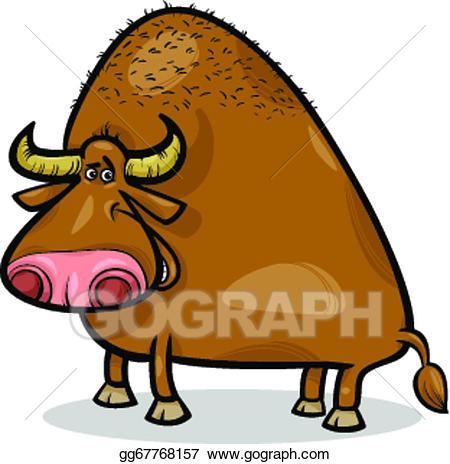 Buffalo clipart bull. Vector art or cartoon
