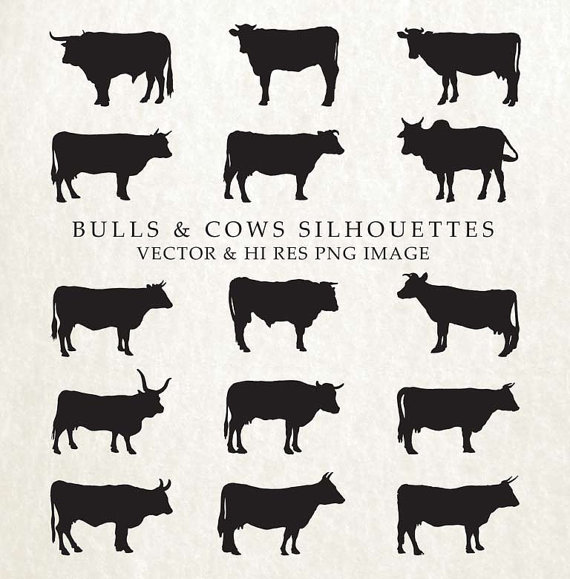 Cow silhouette clip art. Buffalo clipart bull
