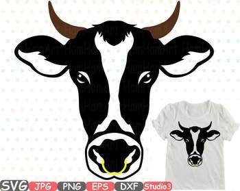 Cow head horns silhouette. Buffalo clipart bull