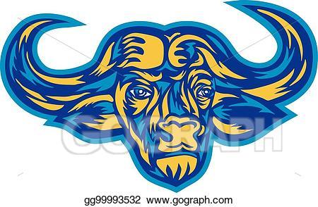 Buffalo clipart cape buffalo. Vector illustration head retro