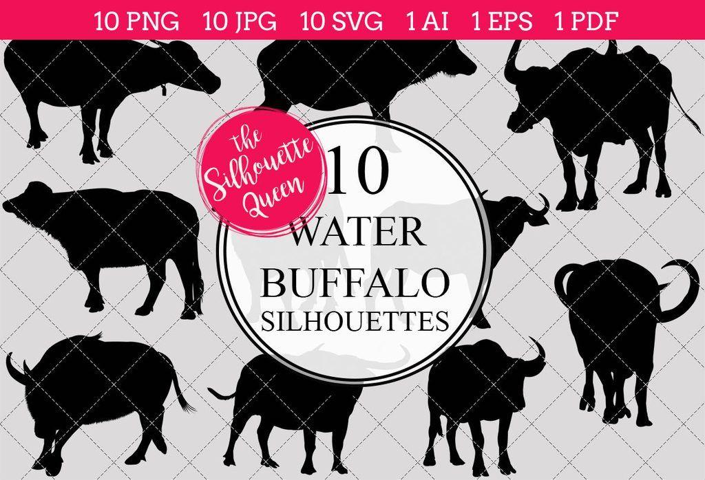 Buffalo clipart clip art. Water silhouettes ai eps