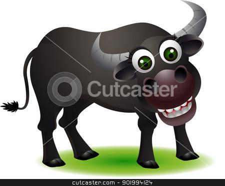 Buffalo clipart cute. Cartoom smiling stock vector