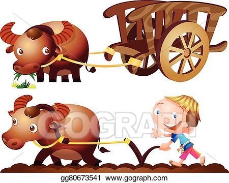 Buffalo clipart cute. Vector stock farmer cart