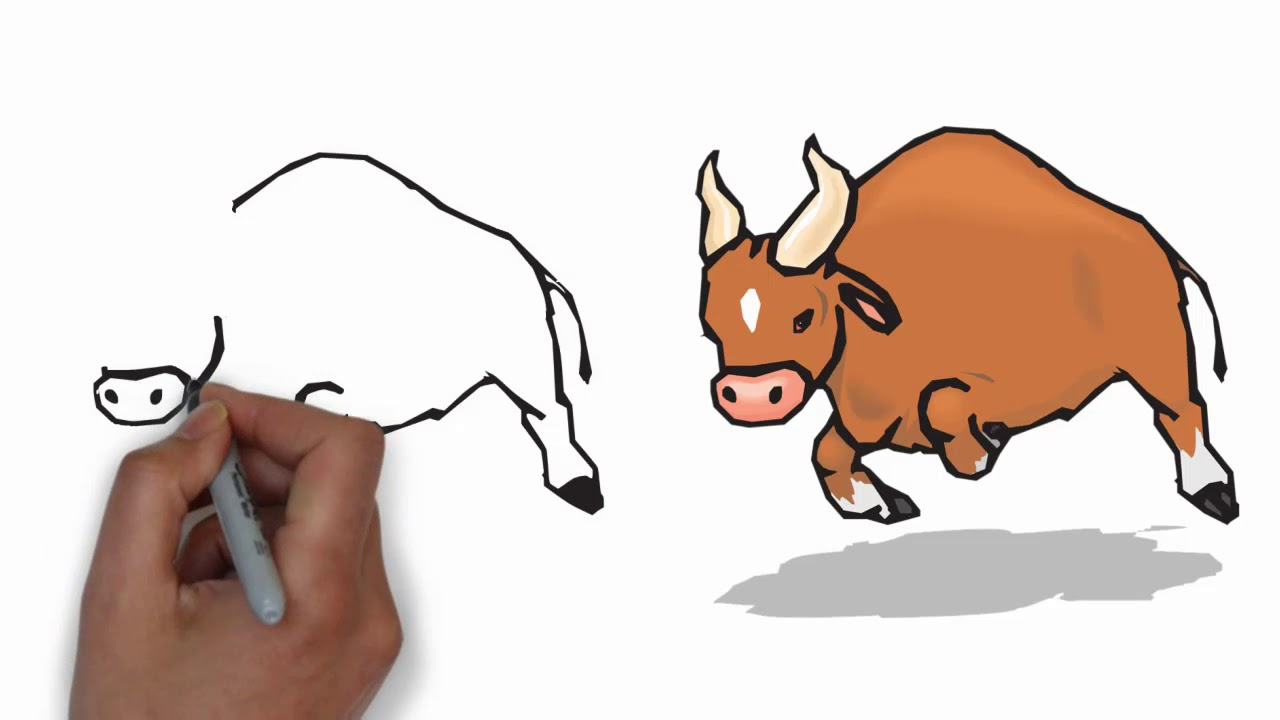How to draw step. Buffalo clipart easy