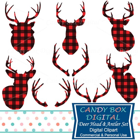 Deer and antler red. Buffalo clipart head