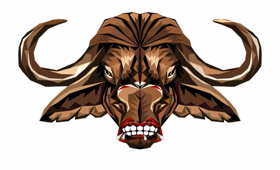 Animal nature stylized comic. Buffalo clipart head