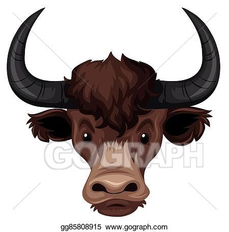 Vector illustration on white. Buffalo clipart head