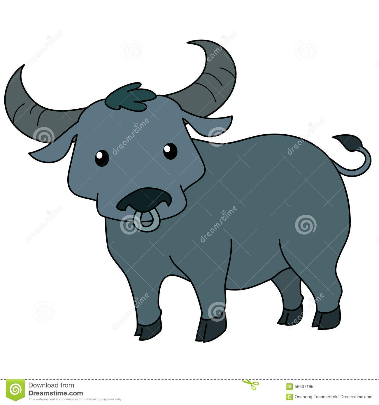 Thai . Buffalo clipart illustration