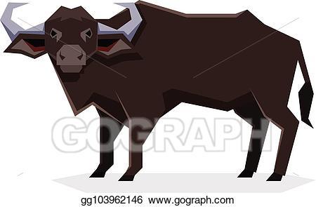 Buffalo clipart illustration. Vector stock flat geometric