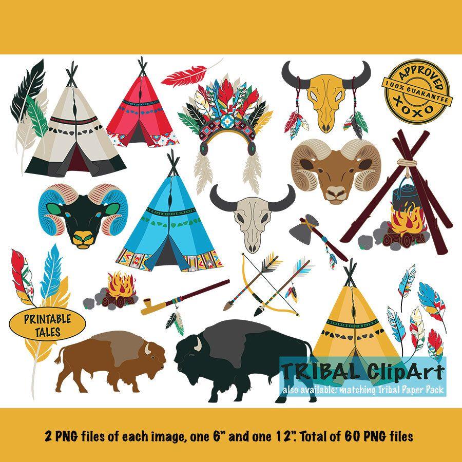 Tribal boy teepee arrow. Buffalo clipart kid