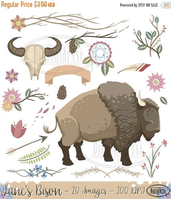 Bison yellowstone download instant. Boho clipart themed