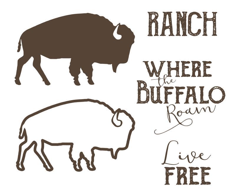 Svg roam live free. Buffalo clipart outline