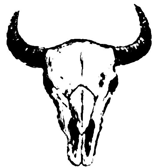 Skull outline bison by. Buffalo clipart stencil