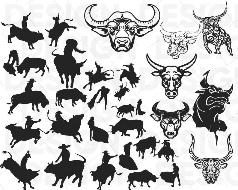 Bull svg rodeo matador. Buffalo clipart stencil