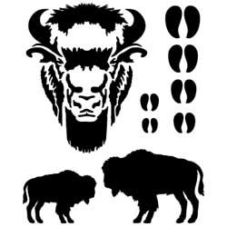 Buffalo clipart stencil. Leathercraft crafts stencils