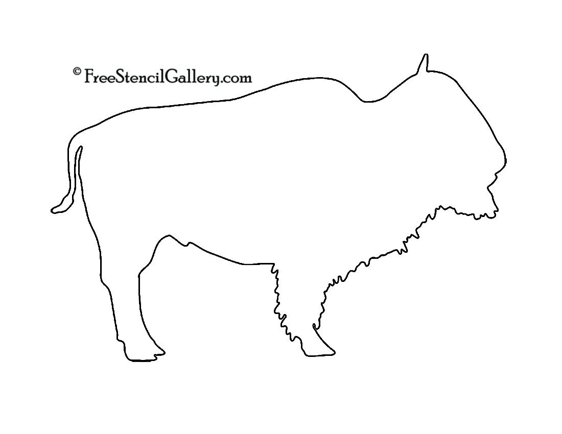 Buffalo clipart stencil. Silhouette free gallery