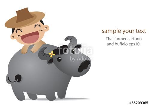 Thai farmer cartoon and. Buffalo clipart vector