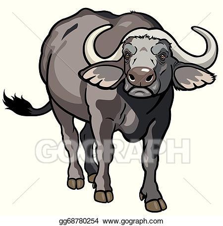 Stock african illustration . Buffalo clipart vector