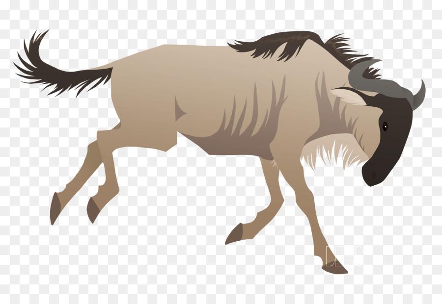 Buffalo clipart wildebeest. Blue black clip art