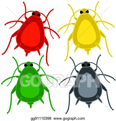 Vector insect set illustration. Bugs clipart aphid