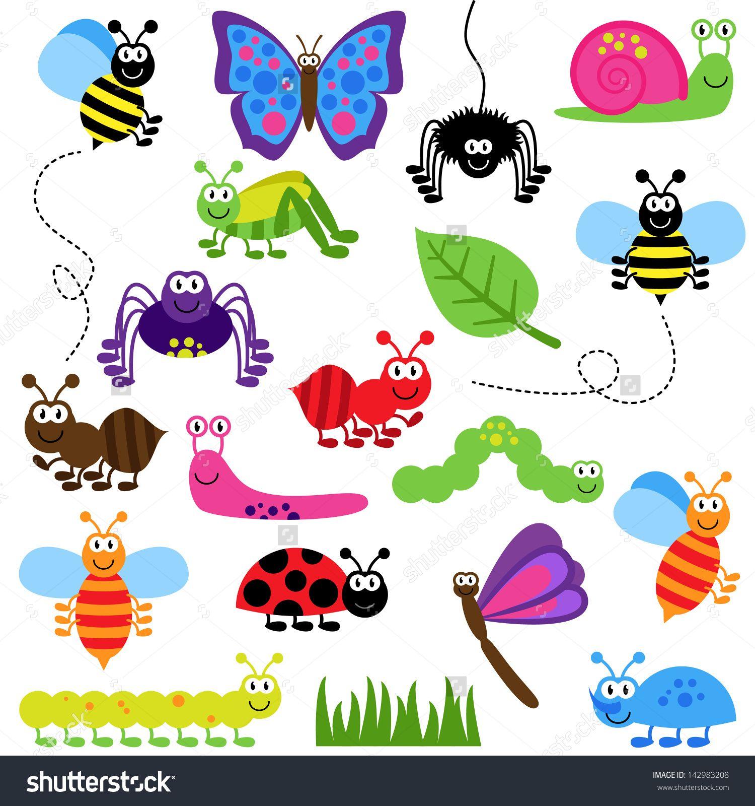 Stock vector large set. Bug clipart cartoon