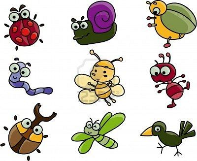 Cartoon of many bugs. Insect clipart cute vector