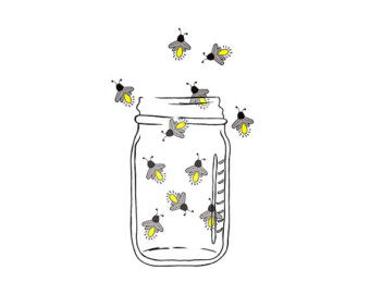 Lightning bug art etsy. Firefly clipart mason jar