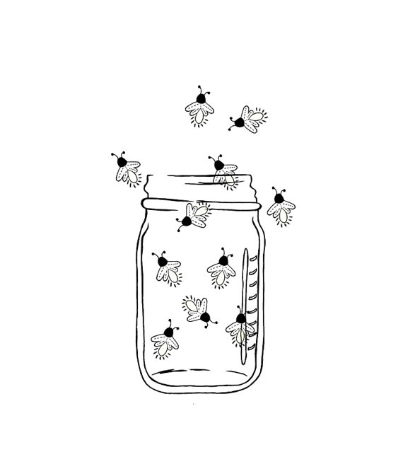 Mason image outline fireflies. Firefly clipart jar drawing