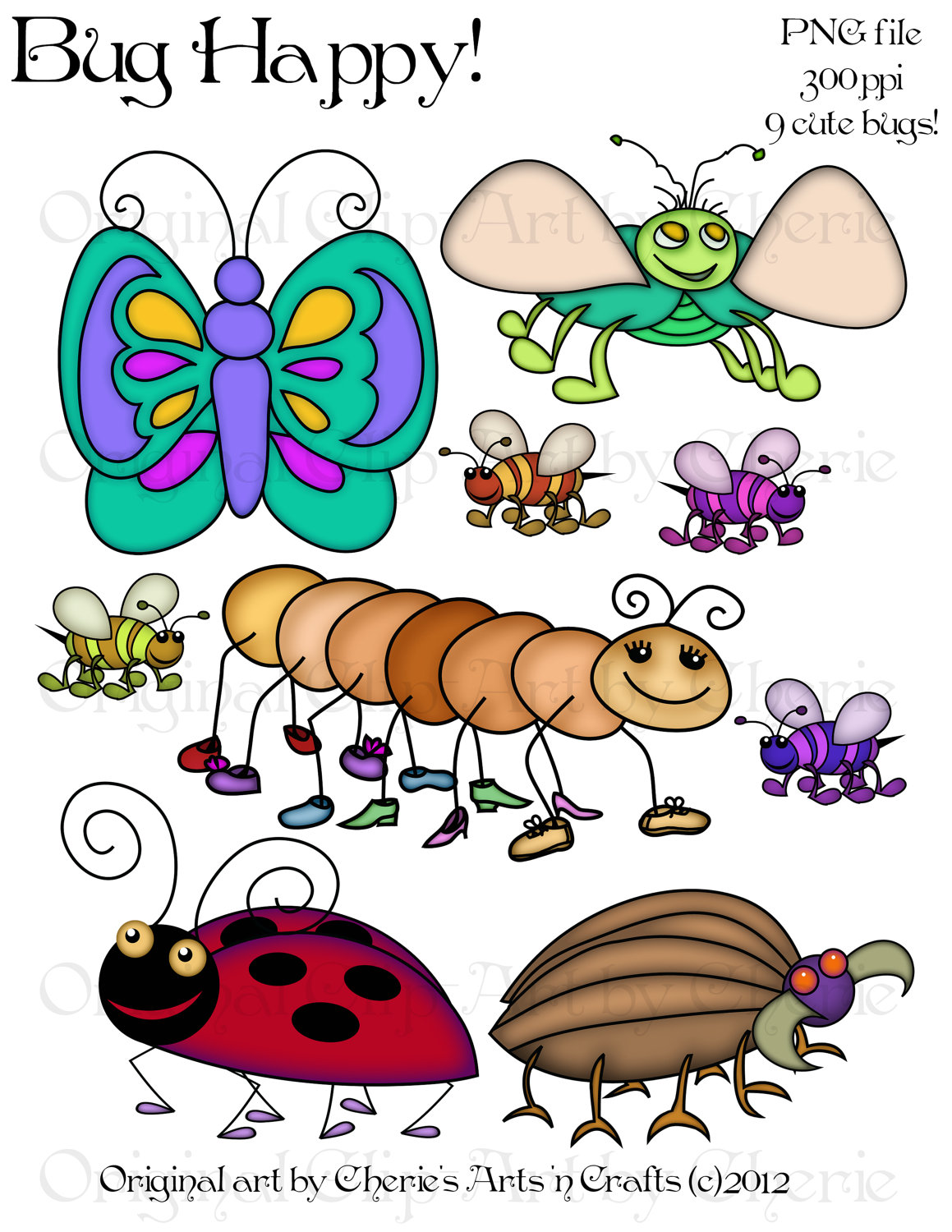 Bugs whimsical pencil and. Bug clipart popular